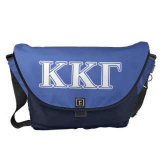 Kappa Kappa Gamma White and Royal Blue Letters Messenger Bag