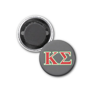 Kappa Sigma Red and Green Letters 1 Inch Round Magnet