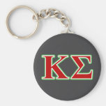 Kappa Sigma Red and Green Letters Basic Round Button Keychain