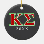 Kappa Sigma Red and Green Letters Double-Sided Ceramic Round Christmas Ornament