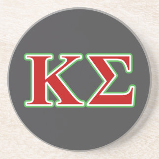Kappa Sigma Red and Green Letters Drink Coaster