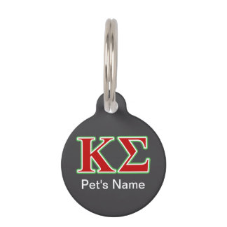 Kappa Sigma Red and Green Letters Pet ID Tags