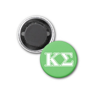 Kappa Sigma White and Green Letters 1 Inch Round Magnet
