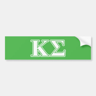 Kappa Sigma White and Green Letters Car Bumper Sticker