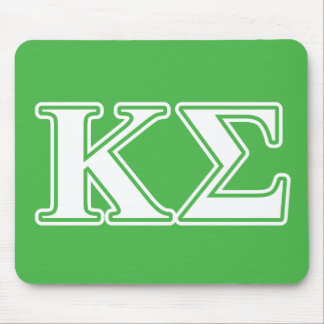 Kappa Sigma White and Green Letters Mouse Pad
