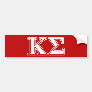 Kappa Sigma White and Red Letters Bumper Sticker