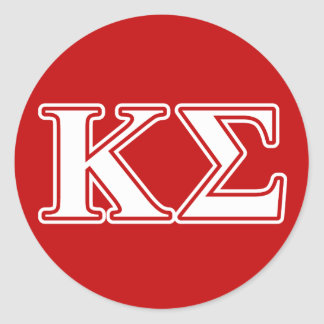 Kappa Sigma White and Red Letters Classic Round Sticker