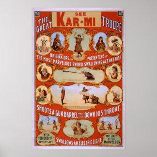KAR-MI Magician Troupe VAUDEVILLE Poster