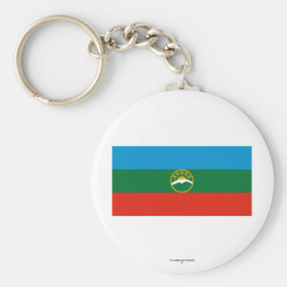 Karachay-Cherkess Republic Flag Basic Round Button Keychain