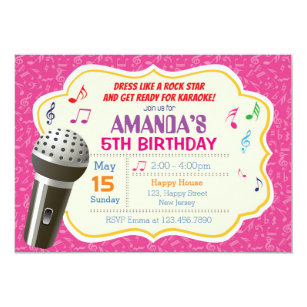 Karaoke Birthday Invitations Zazzle