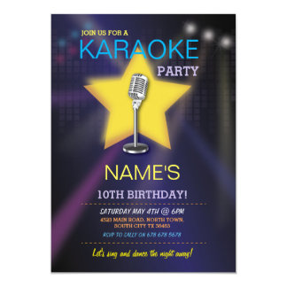 Karaoke Birthday Party Dance Star Invite