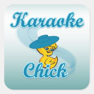 Karaoke Chick #3 Square Sticker