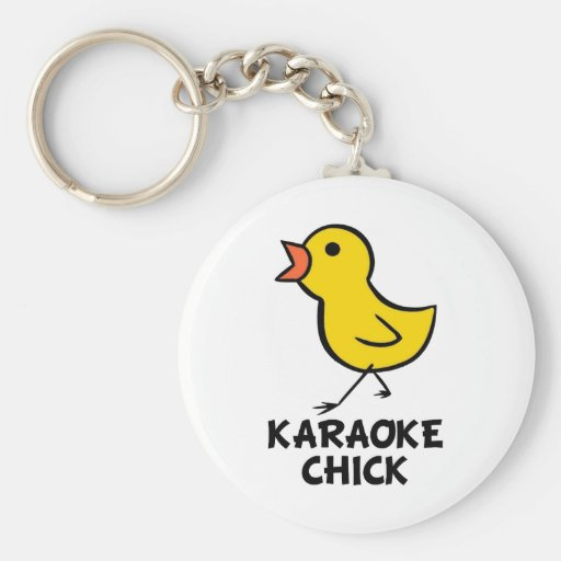 Karaoke Chick Keychain