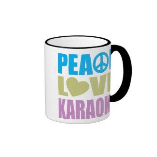Karaoke del amor de la paz taza de café