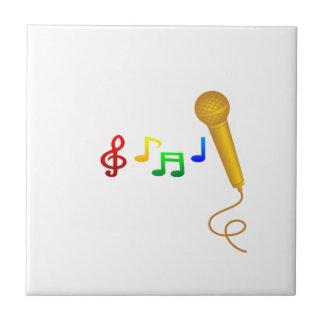 Karaoke feliz de la música del canto azulejo cuadrado pequeño