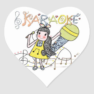 Karaoke Girl Heart Sticker