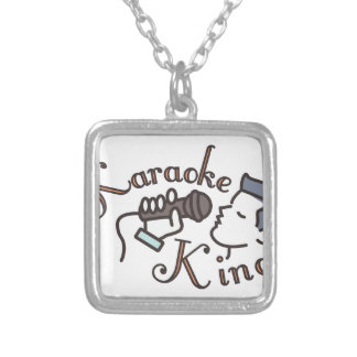 Karaoke King Silver Plated Necklace