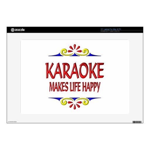 Karaoke Makes Life Happy Laptop Decal