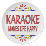 Karaoke Makes Life Happy Plates