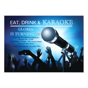 Karaoke party invitations announcements zazzle karaoke night adult birthday party invitation stopboris Image collections