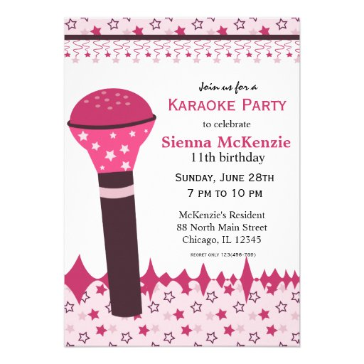 Personalized karaoke invitations custominvitations4u karaoke nights custom invitations stopboris Image collections