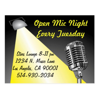 Karaoke/ Open Mic Night Postcard