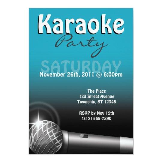 Karaoke Party Blue Invitations