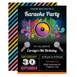 Karaoke birthday party invitations announcements zazzle karaoke party colorful music birthday invitation stopboris Choice Image