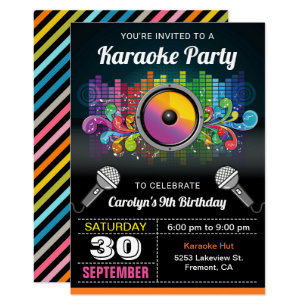 Karaoke Party Colorful Music Birthday Invitation