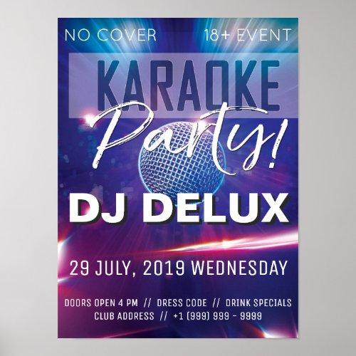 Karaoke Party   DJ   Club Flyer Poster