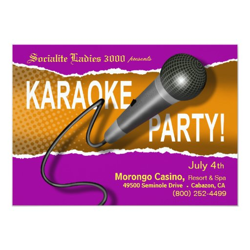 Karaoke Party Night 5x7 Paper Invitation Card