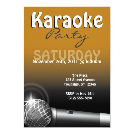 Karaoke Party Orange Invitations
