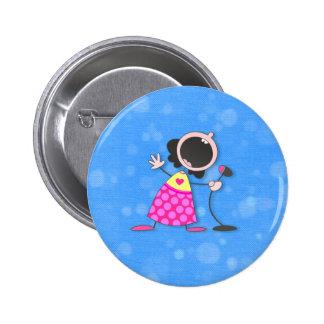 karaoke queen-blue pinback buttons