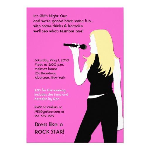 Personalized karaoke invitations custominvitations4u karaoke singing party girls night out birthday invite stopboris Choice Image