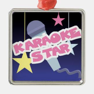 karaoke star square metal christmas ornament