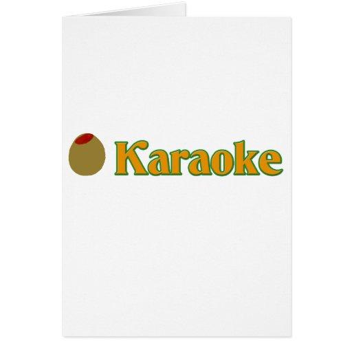 Karaoke verde oliva tarjeta de felicitación