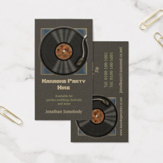 Karaoke Vinyl Record Logo Business Cards