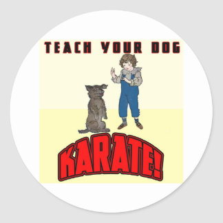 Karate 1 del perro pegatina redonda