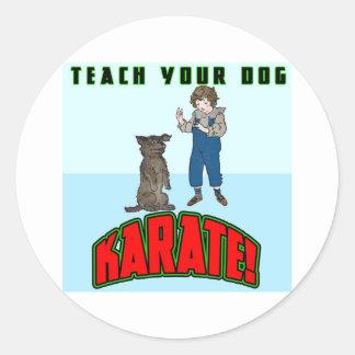 Karate 2 del perro pegatina redonda