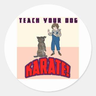 Karate 3 del perro pegatina redonda