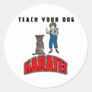 Karate 4 del perro pegatina redonda