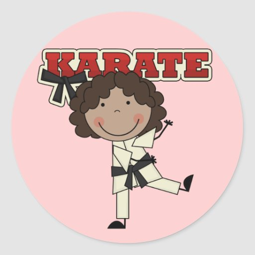 Karate - African American Girl Tshirts and Gifts Round Stickers