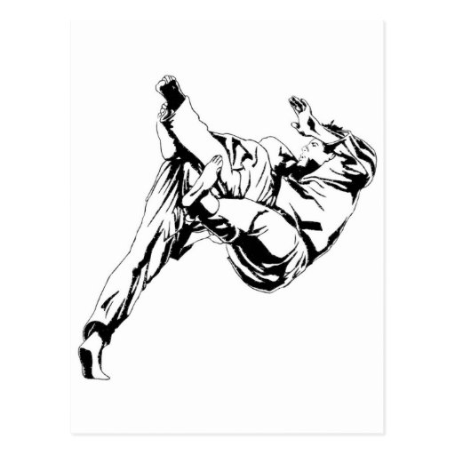 Karate and a judo. Technics of throws Postcards