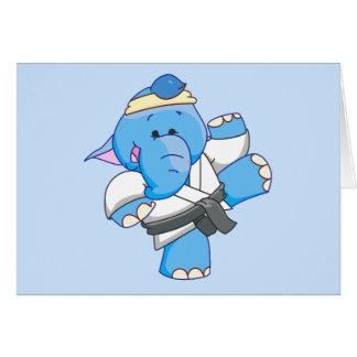 Karate azul del elefante de Lil Tarjeta