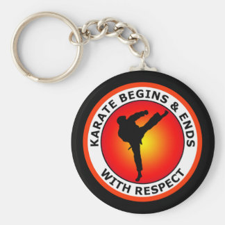 KARATE BEGINS AND ENDS WITH RESPECT KEYCHAIN