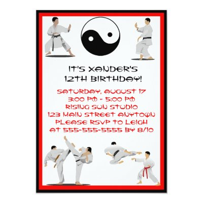 Martial Arts Black Belt Promotion Test Invitation – Martial Arts Birthday Invitations