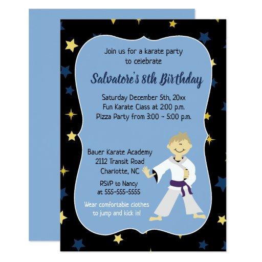 Karate Birthday Invitation Boy Purple Belt