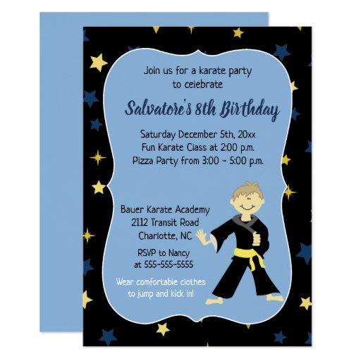 Karate Birthday Invitation Boy Yellow Belt