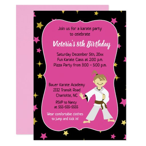 Karate Birthday Invitation Girl Brown Belt