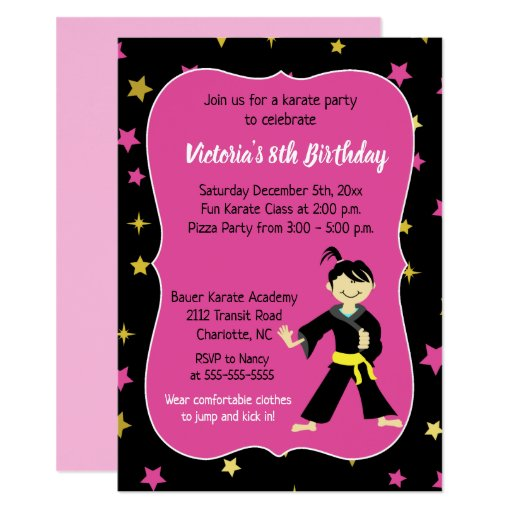 Karate Birthday Invitation Girl Yellow Belt